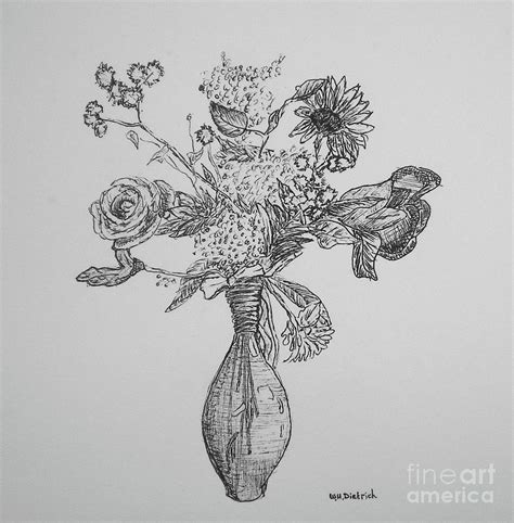 Drawing Of Flowers In Vase by Flower Vase By William Dietrich