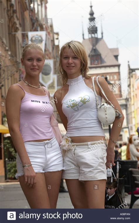 very young polska little friends young polish girls in gdansk poland stock photo royalty