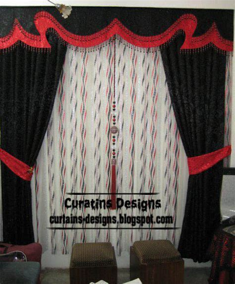 red and black curtain blackout black curtain model with stylish valance design