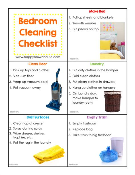 bedroom cleaning checklist editable chore cards for kids happy brown house