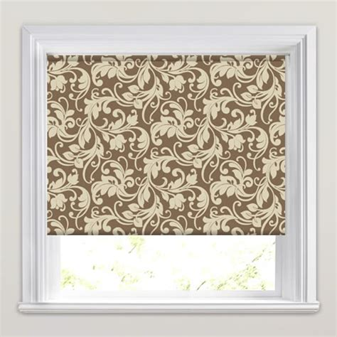 brown patterned roller blind beautiful cream brown traditional floral patterned