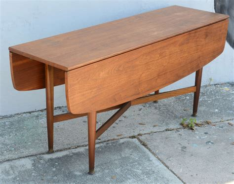 teak drop leaf dining or console table 1960s at