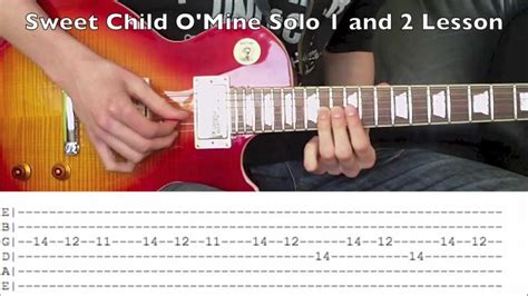 tutorial guitar sweet child o mine how to play sweet child o mine solo 1 and 2 guns n roses