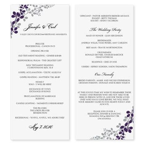 wedding program template exquisite vines eggplant