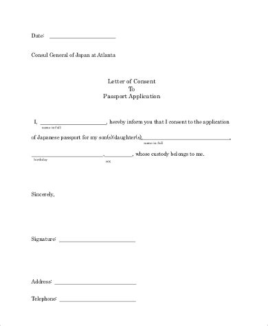 Sample Consent Letter For Minor Passport 10 sample letter of consent free documents in word pdf