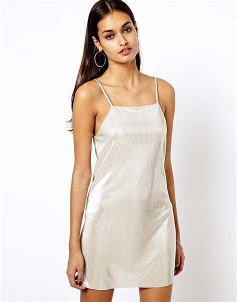 Slop Dress oh my metallic cami slip dress in metallic lyst
