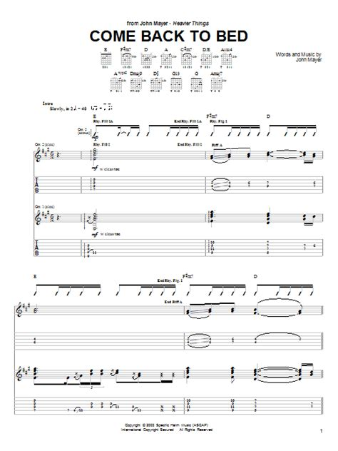 john mayer come back to bed come back to bed by john mayer guitar tab guitar