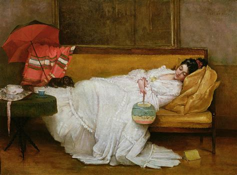 sofa painting girl in a white dress resting on a sofa painting by alfred