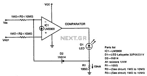 diode comparator circuit gt other circuits gt switch circuits gt diode feedback comparator l12586 next gr