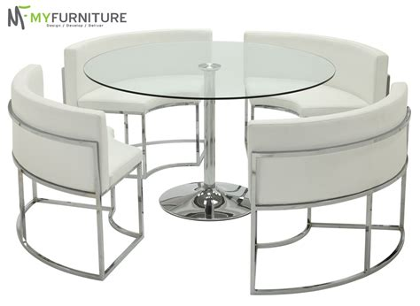 Round Glass Dining Table And White Chair Set Hideaway Ebay Hideaway Dining Table And Chairs