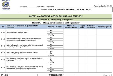 safety management system template sle safety gap analysis templates free