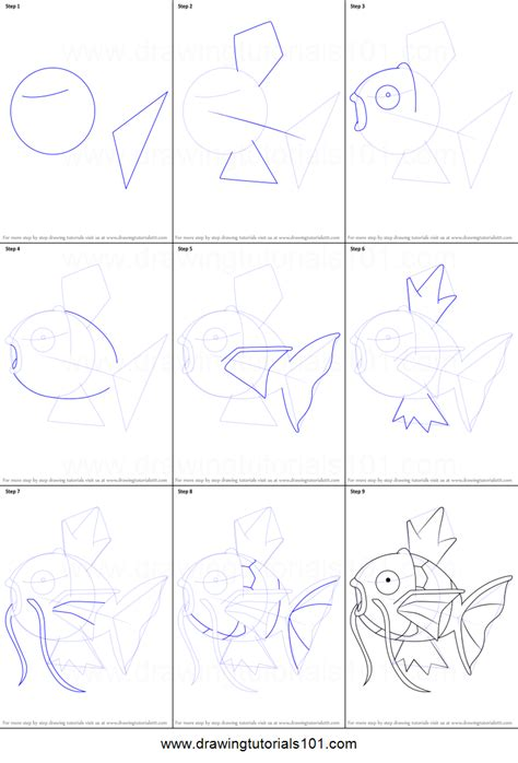 Drawing Step By Step by How To Draw Magikarp From Printable Step By Step
