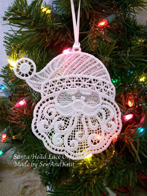 lace ornament santa head lace christmas ornaments