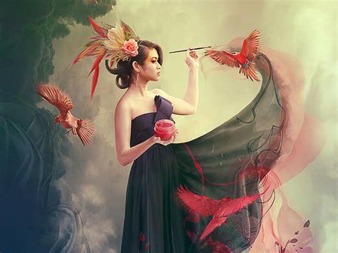 wallpaper girl painting girl jewel brush paint birds wallpapers girl jewel brush