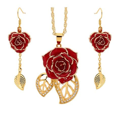 Rose Themed Jewellery | red matched set in 24k gold leaf theme glazed rose