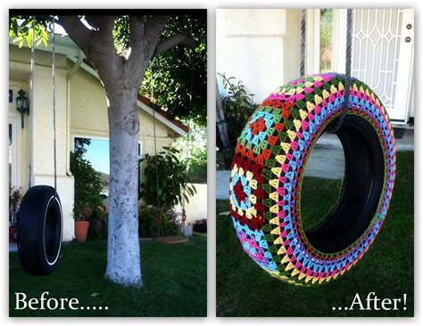 painted tire swing the curious pebble project yarn bombing my neighbor part ii