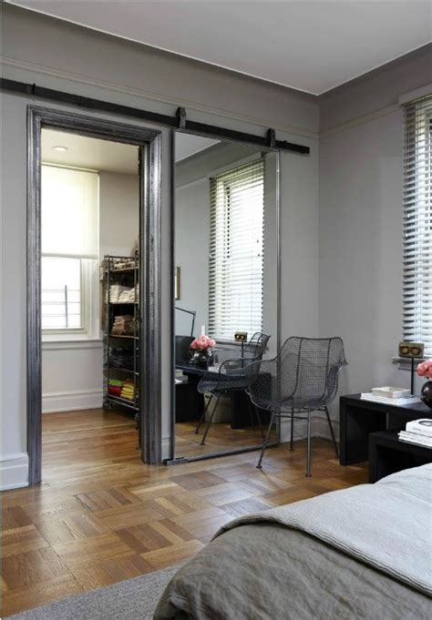 Sliding Mirror Doors For Closet A Sliding Barn Door Mirror This And It Almost Makes The Room Seem Secret With The