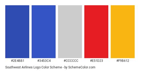 southwest color palette southwest airlines logo color scheme 187 blue 187 schemecolor