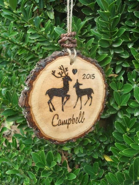 wood christmas ornament rustic wood deer christmas ornament