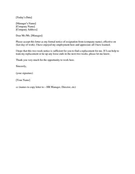 Resignation Letter 2 Weeks Exle Two Weeks Notice Letter Template E Commercewordpress