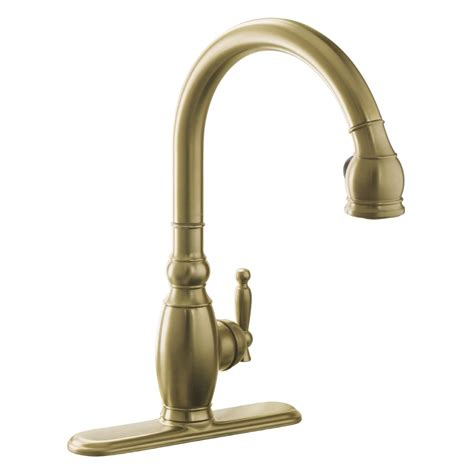 brushed bronze kitchen faucet shop kohler vinnata vibrant brushed bronze 1 handle deck mount pull kitchen faucet at lowes