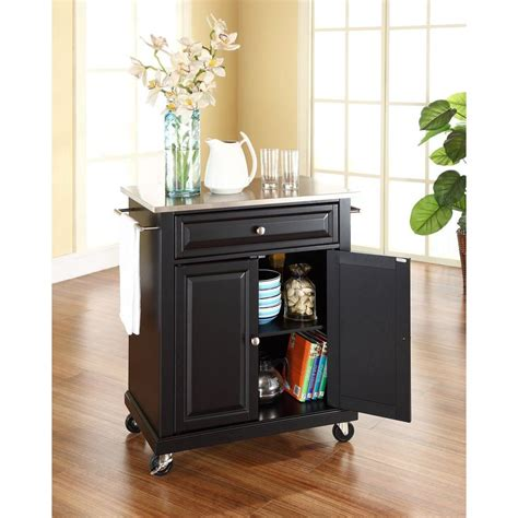 Crosley Wood Top Kitchen Cart Island In Black Crosley Black Kitchen Cart With Stainless Steel Top