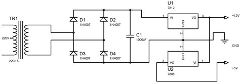 12v 5v power supply circuit diagram water level indicator controller using pic microcontroller