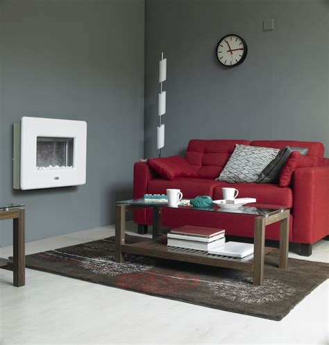 gray walls red couch living room with red sofa room small character grey