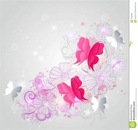 tekening vlinder met bloem achtergrond met vlinders en bloemen vector illustratie