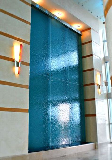 waterfall wall fountain   lobby  residential building