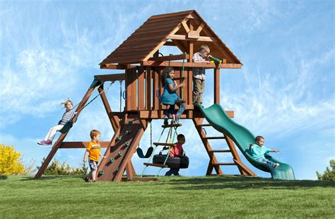 High Quality Wooden Swing Sets Two Ring Deluxe