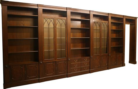 modular bookcases with doors quality yew and mahogany reproduction combination