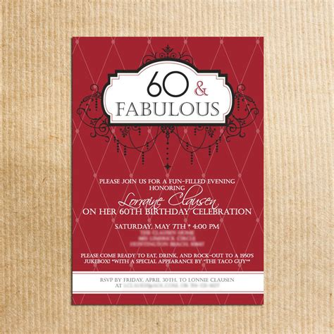20 Ideas 60th Birthday Party Invitations Card Templates Birthday Party Invitations Templates Celebration Of Cards Templates Free