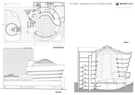 House Plans With Elevations And Floor Plans Guggenheim Museum Wright Dwg