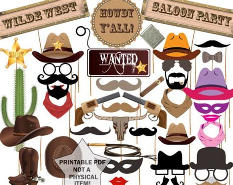 wild west printable photo booth props 25 best ideas about western photo booths on pinterest