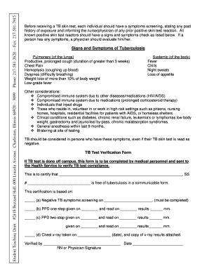 Tb Test Form Tb Skin Test Form Template