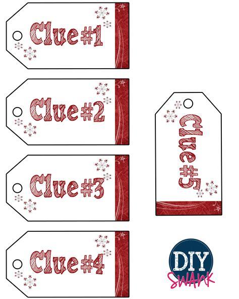 blank clue card template santa gift scavenger hunt free printables diy swank