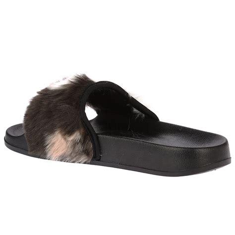 flip flat shoes romy womens slip on fur flats sandals flip flops