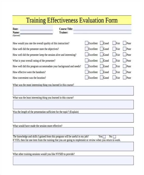 effectiveness evaluation form template effectiveness evaluation form template gallery