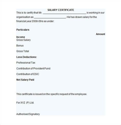 Certificate Letter Format In Word Salary Certificate Template 24 Free Word Excel Pdf Psd Documents Free Premium