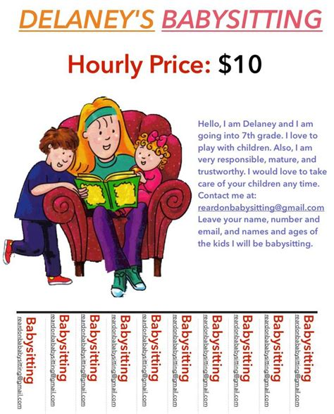 24 Best Images About Babysitting Flyers On Pinterest Babysitting Flyer Template Pdf