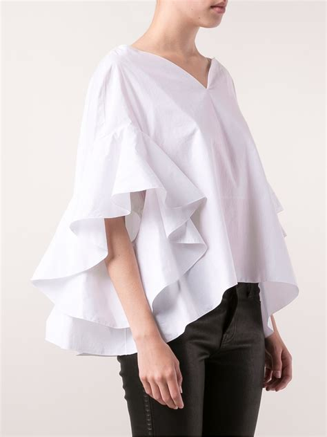 Ruffled Sleeve Blouse lyst delpozo ruffle sleeve blouse in white