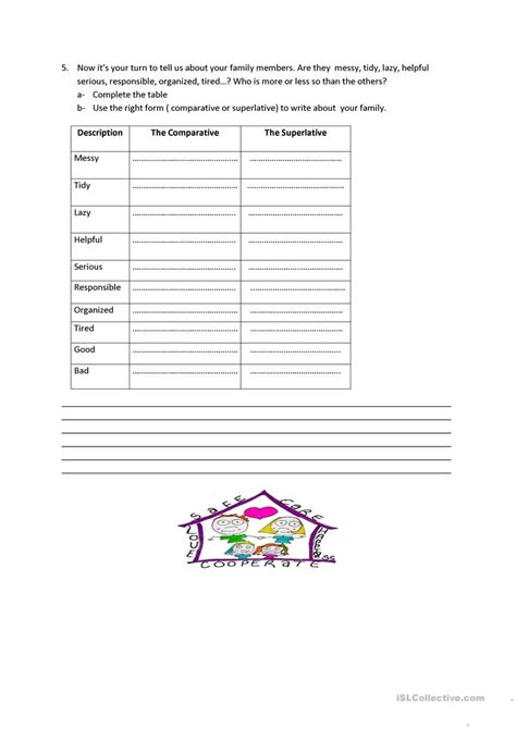 sharing family responsibilities worksheet free esl
