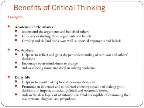 exle of critical thinking developing critical thinking skills