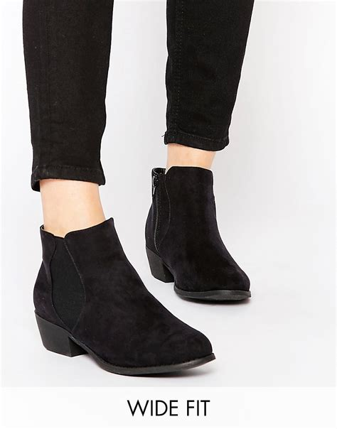 new look wide fit new look wide fit flat ankle boots at asos