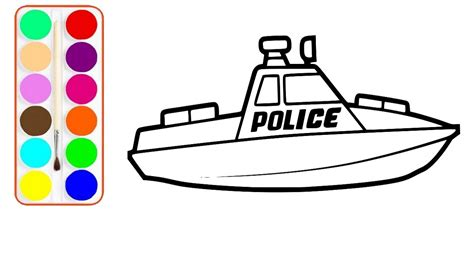 speed boat drawing speed boat drawing and coloring police speed boat