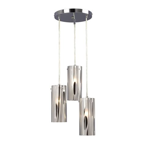 Multi Light Pendant Fixture Shop Galaxy Lustre 12 In Chrome Industrial Multi Light Cylinder Pendant At Lowes