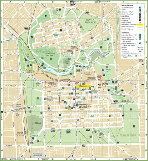 map of the city of adelaide city map