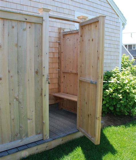 outdoor shower bench outdoor cedar shower kits with bench decking flooring