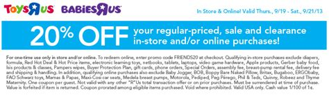 20 off babies r us printable coupon 2013 toys r us coupon september 2013 20 off purchase living